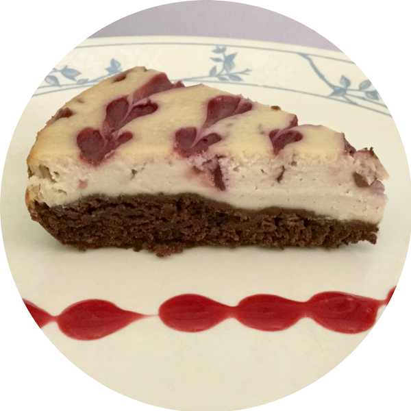 Vegan Raspberry Brownie Cheesecake with Raspberry Sauce