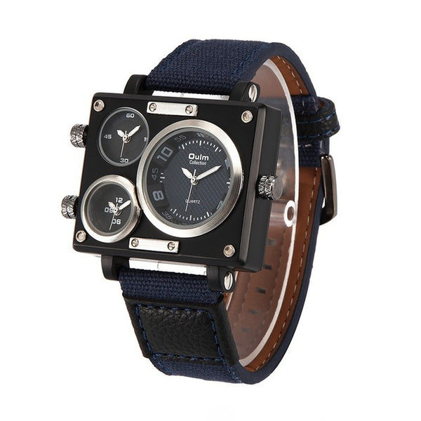 Oulm Luxury Brand Men's Multi-Face Quartz-Watch