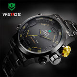 Top Luxury Brand WEIDE Men Army Military Sports Watches Men's Quartz LED Display Clock Full Steel Wrist Watch Relogio Masculino