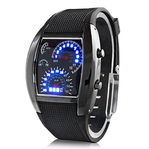 mens watches Flash LED Men's Sports Car Meter Dial Stainless Steel Rubber Band Watch