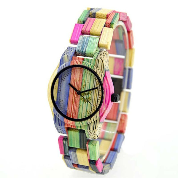 Bewell Handmade Natural Colorful Bamboo Wooden Watch