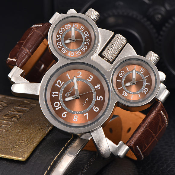 mens watches Oulm Men's Three Face Military Watch/Analog Dials/Leather Strap