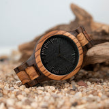 mens watches Zebrawood and Ebony Wooden Men's Watch – Tri-Fold Clasp – Stainless Steel Buckle