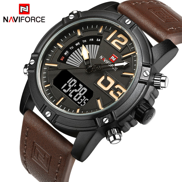 NAVIFORCE Men's Fashion Sport Watches Men Quartz Analog Date Clock Man Leather Military Waterproof Watch Relogio Masculino