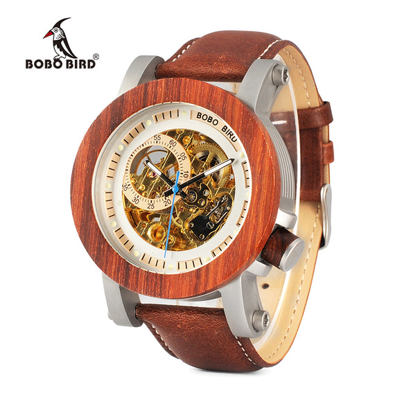 BOBO BIRD WK12 Red Sandalwood & Steel Exposed Mechanical Watch Vintage Bronze Skeleton Clock Male Antique Steampunk Automatic
