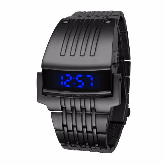 Electronic New Digital Watch Full Stainless Steel Men Wristwatches Military Men Sports Watches Fashion LED Iron Man Watches
