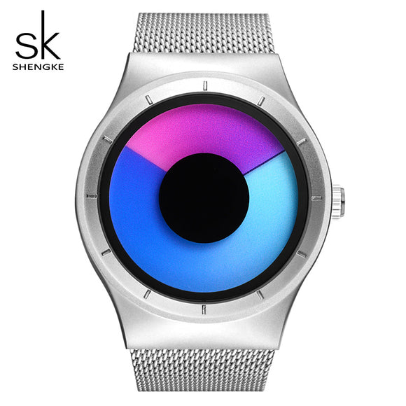 SK Creative Women Watches Unique Design Mesh Band Silver Wrist Watch Luxury Stainless Steel Quartz Watches Relogio Feminino