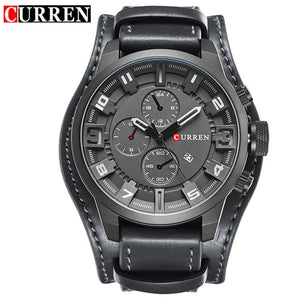 CURREN Men's Military Quartz Leather Watch