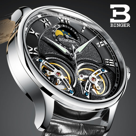 Double Tourbillon Switzerland Watches BINGER Original Men's Automatic Watch Self-Wind Fashion Men Mechanical Wristwatch Leather