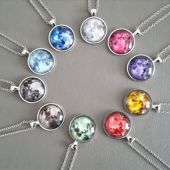 Full Moon Handmade Glass Dome Necklace/Pendant