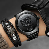 GIMTO 3D Black Steel Quartz Skull Watch