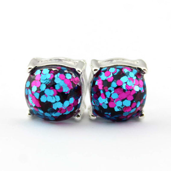 New York Silver Glitter/Iridescent Stud Earrings