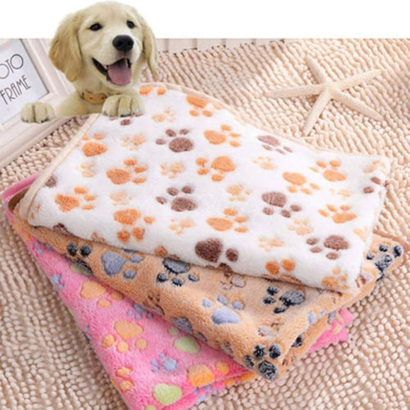 Soft Paw Print Coral Fleece Dog Blanket