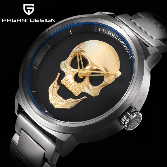 3D Skull Men's Steel Stainless Quartz Watch