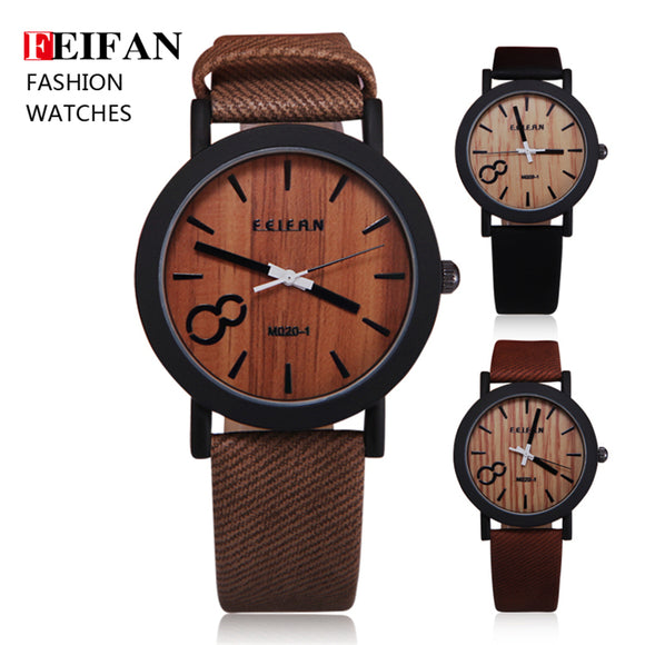 women's mens watches FeiFan Vintage Wooden Style Quartz Leather Strap Men Watches
