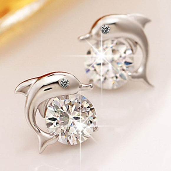 Crystal Eye Dolphin CZ Stud Earrings