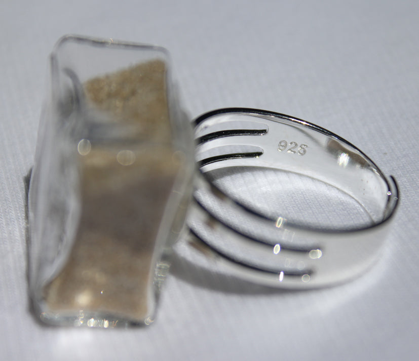 Large Square Glass Ring | 20mm long x 20mm wide x 10mm high