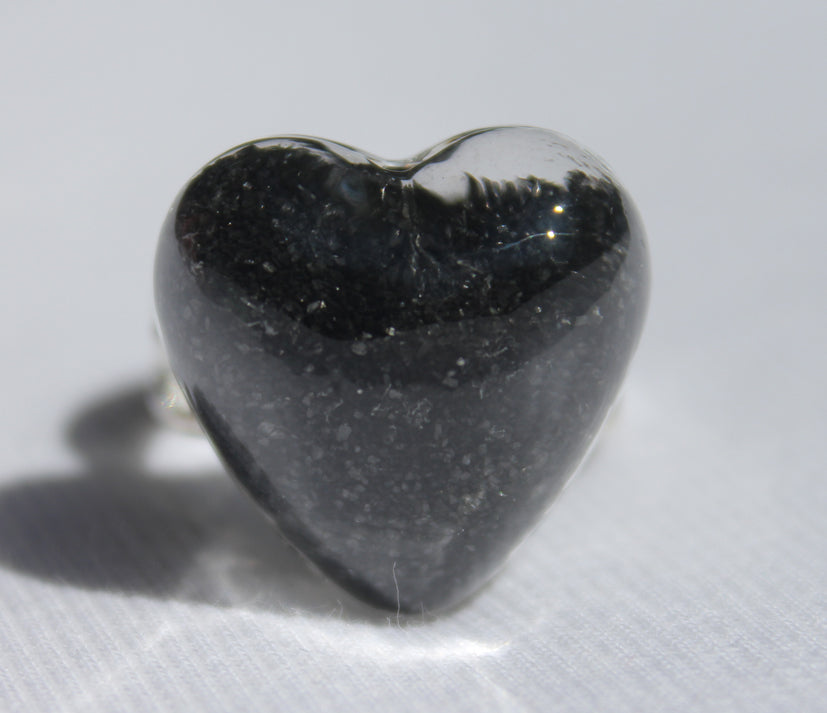Heart Shaped Glass Ring filled with your choice of sand