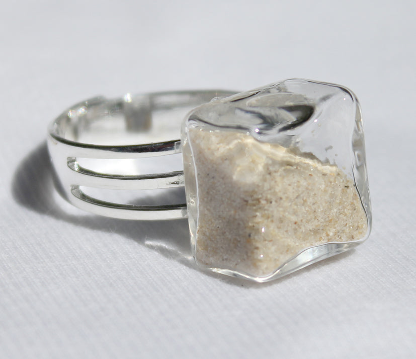Small Cube Glass Ring | 15mm long x 15mm wide x 15mm high