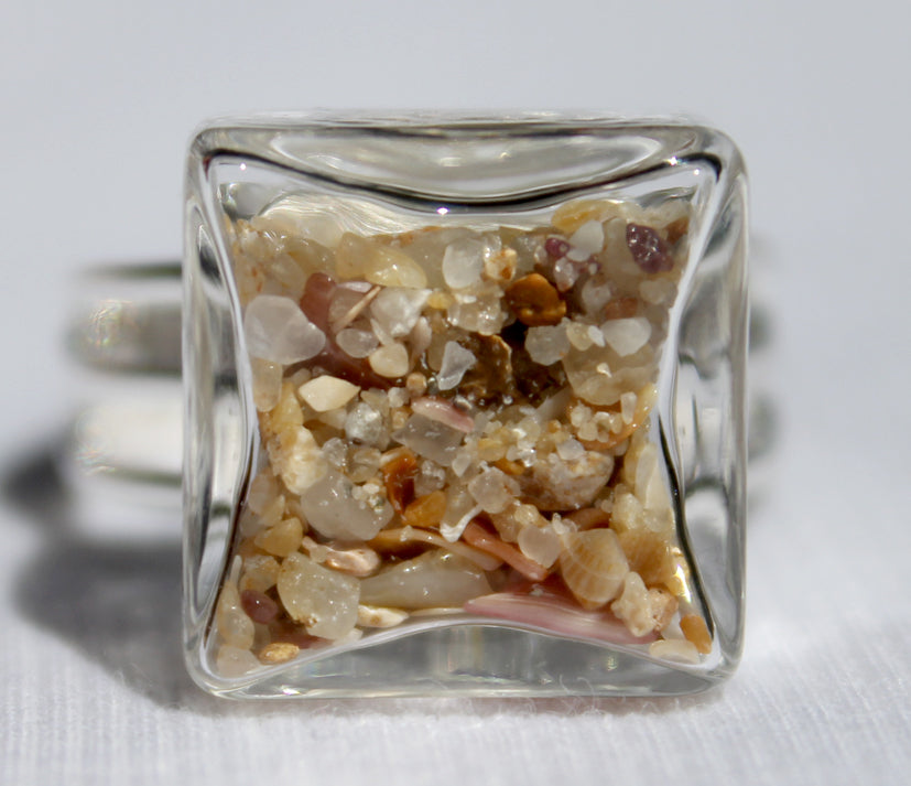 Small Cube Glass Ring filled with your choice of sand