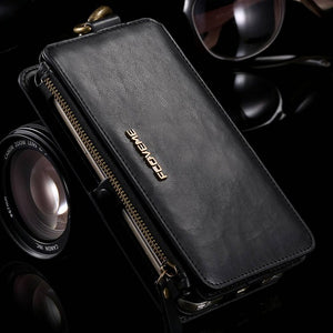 FLOVEME Classical Retro Leather Phone Bag Cases For Samsung Galaxy NOTE 3 4 5 / S7 / S6 edge plus Case Metal Ring+Wallet Cover
