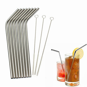 8Pcs Stainless Steel Metal Drinking Straw Reusable Straws + 3 Cleaning Brushes