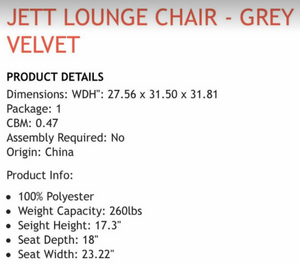 JETT LOUNGE CHAIR - GREY VELVET
