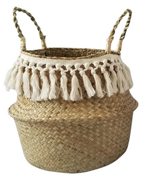 Basket White Fringe with Tassels  27 by 37 cm