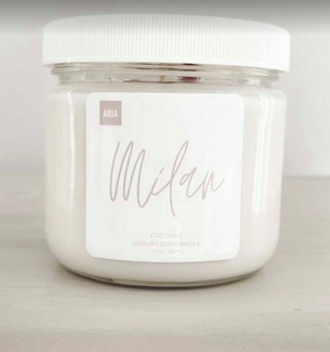 Milan Pure Soy Candle  12 oz  Coconut Scent