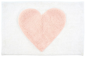 BEAUTIFUL HEART BATH MAT - WHITE AND PALE PINK