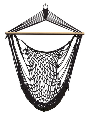 Hammock Chair Black (250 lbs )  110 by 100 cm