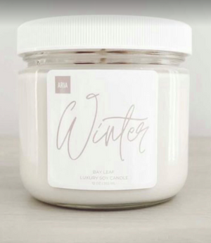 Winter  Pure Soy Candle  12 oz  Bay Leaf Blend