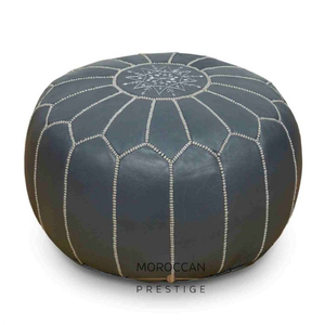 Smoke Moroccan Leather Pouf
