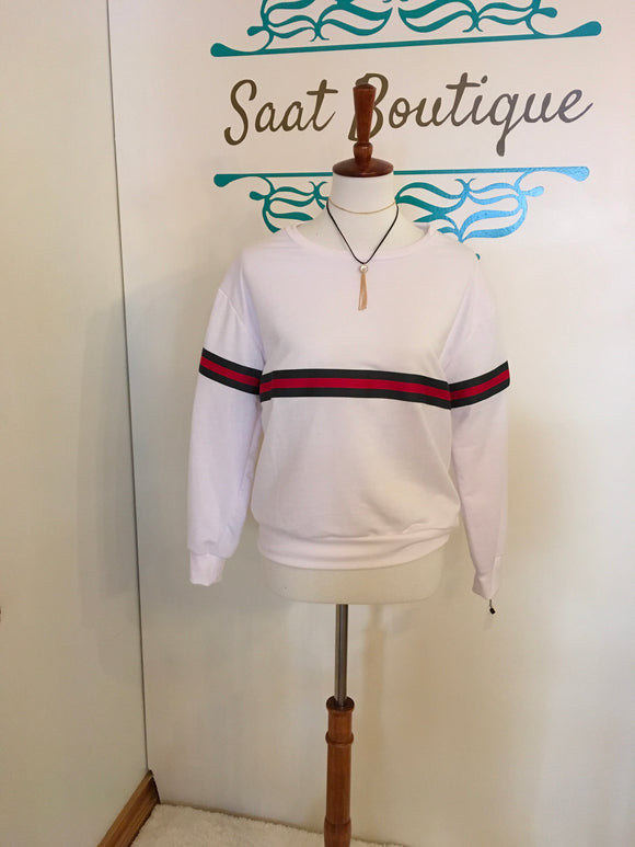 Sweater white/green