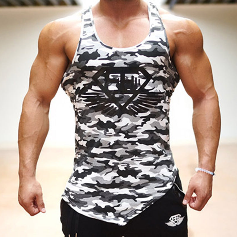 Camo fitness man tank top