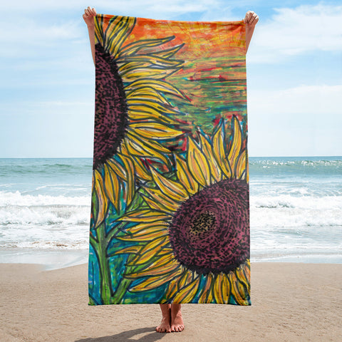 Charles Hutson Original Sunflowers at Sunset Beach Towel
