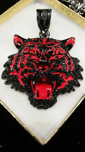 Black-Red Tiger Face Pendant