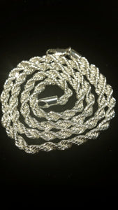 "Stainless Steel Rope Chain 24"" 4MM"