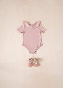 Short Sleeve Ruffle Bodysuit - Pink