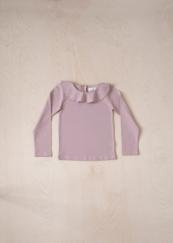 Long Sleeve Ruffle T-Shirt - Pink
