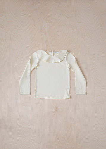 Long Sleeve Ruffle T-Shirt - Ivory