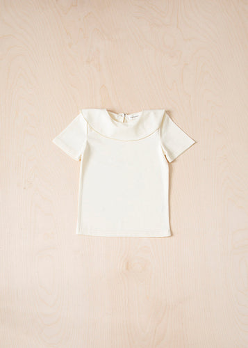Short Sleeve Ruffle T-Shirt - Ivory