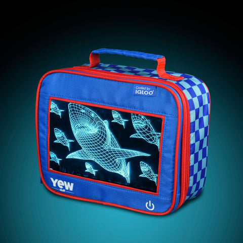 YEW Stuff POP Lights Sharks Lunch Box with Aqua Light On