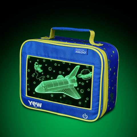 YEW Stuff POP Lights Astronaut Lunch Box with Green Light On