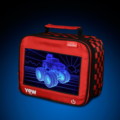 YEW Stuff POP Lights Monster Truck Lunch Box with Blue Light On
