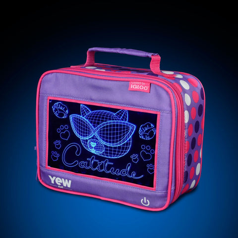 YEW Stuff POP Lights Catitude Lunch Box with Blue Light On