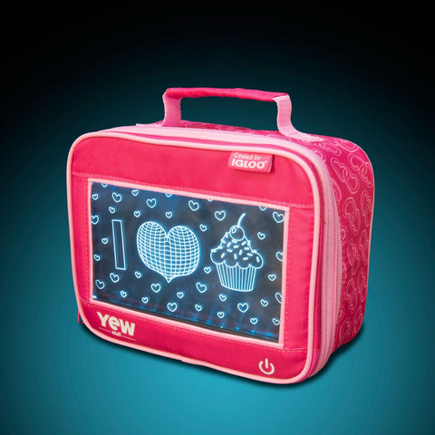 YEW Stuff POP Lights I Heart Cupcakes Lunch Box with Aqua Light On