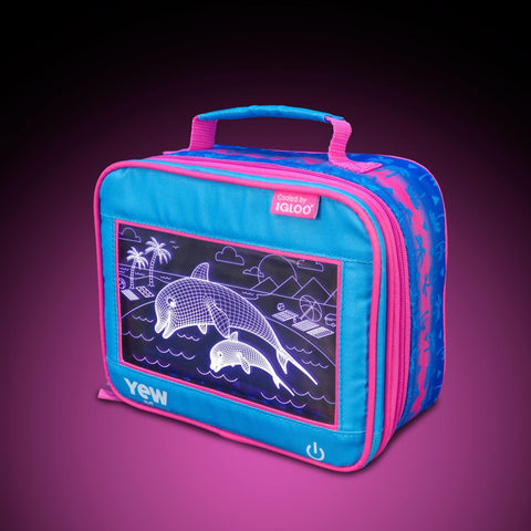 YEW Stuff POP Lights Dolphins Lunch Box with Pink Light On