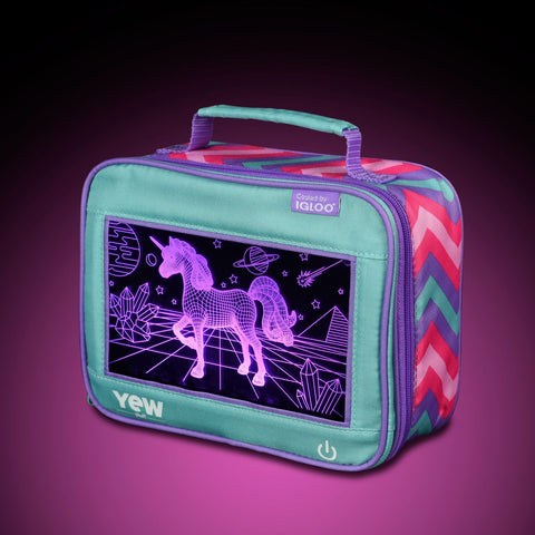 YEW Stuff POP Lights Unicorn Lunch Box with Pink Light On