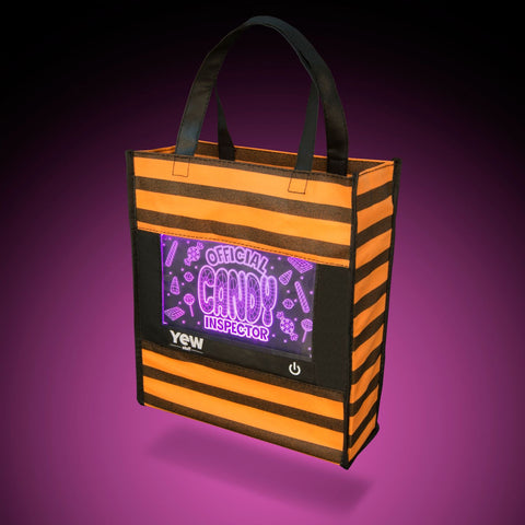 YEW Stuff POP Lights Official Candy Inspector Halloween Trick or Treat Bag with Purple Light On